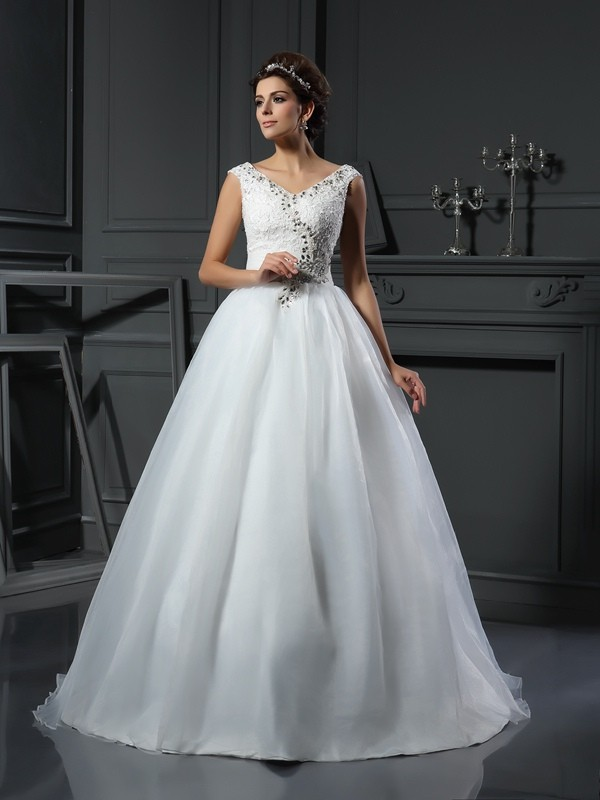Lovely A-Line Princess V-neck Beading Long Organza Wedding Dress