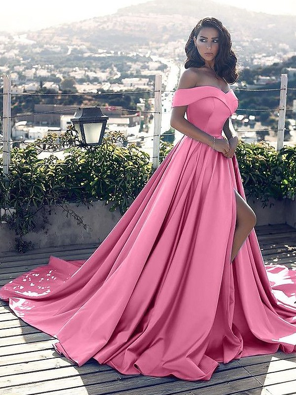 Lovely A-line Off-the-Shoulder With Ruffles Satin Court Train Dress