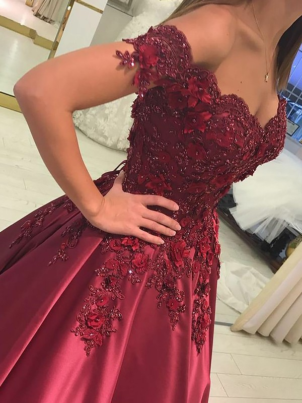 Ball Gown Off-the-Shoulder With Applique Satin Floor-Length Dress