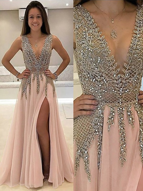 Limitless Looks Princess Style V-Neck Sweep/Brush Train With Beading Tulle Dress