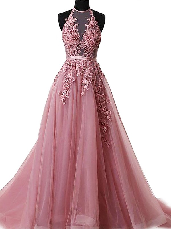 A-Line Halter Sweep/Brush Train With Applique Tulle Dress