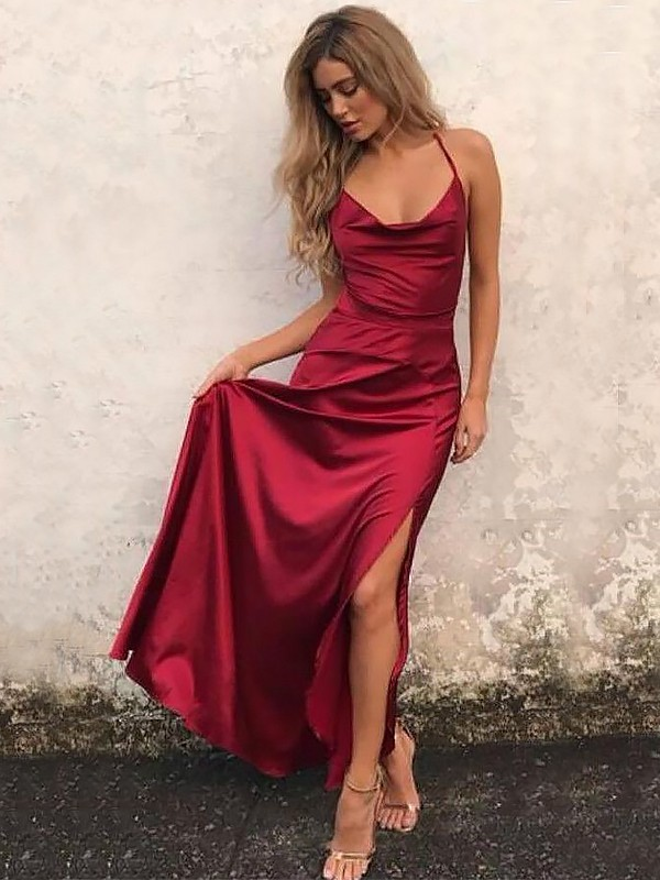 Desired Spotlight Princess Style Spaghetti Straps Floor-Length With Ruffles Elastic Woven Satin Dress