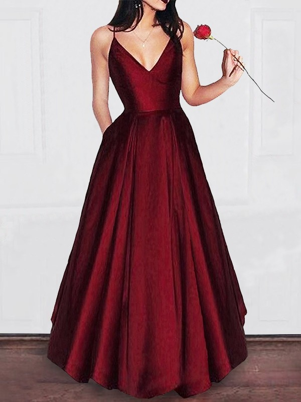 A-Line V-neck Floor-Length Satin With Ruffles Dress
