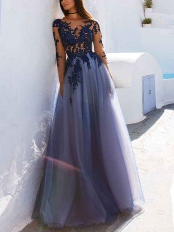 A-Line Scoop Long Sleeves Floor-Length With Applique Tulle Dress
