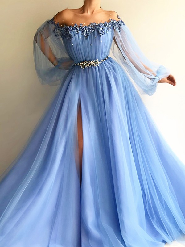 A-Line Long Sleeves Off-the-Shoulder Tulle With Beading Floor-Length Dress