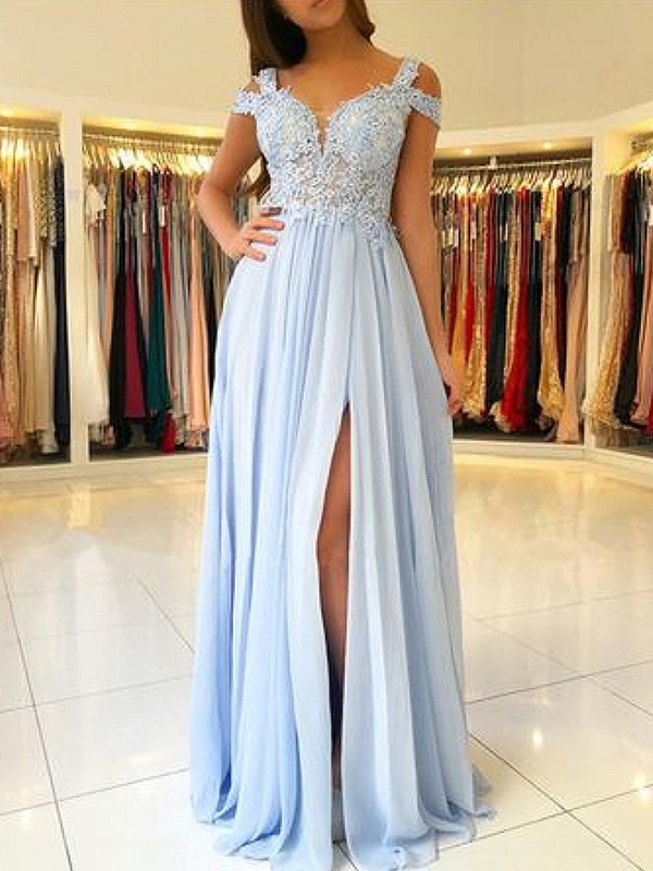 Styled A-Line Off-the-Shoulder Floor-Length Applique Chiffon Dress