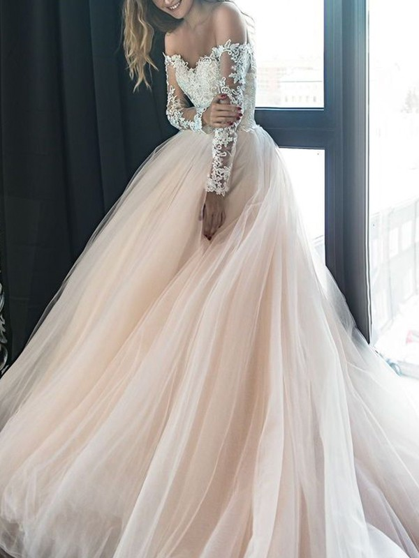 Treasured Reveries A-Line Off-the-Shoulder Long Sleeves Court Train Applique Tulle Wedding Dress