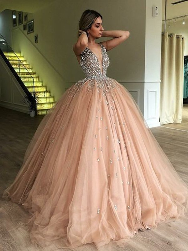 Adorable Ball Gown V-neck Floor-Length Beading Tulle Dress