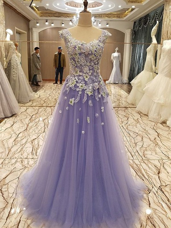 Chic New A-Line Floor-Length With Applique Tulle Dress