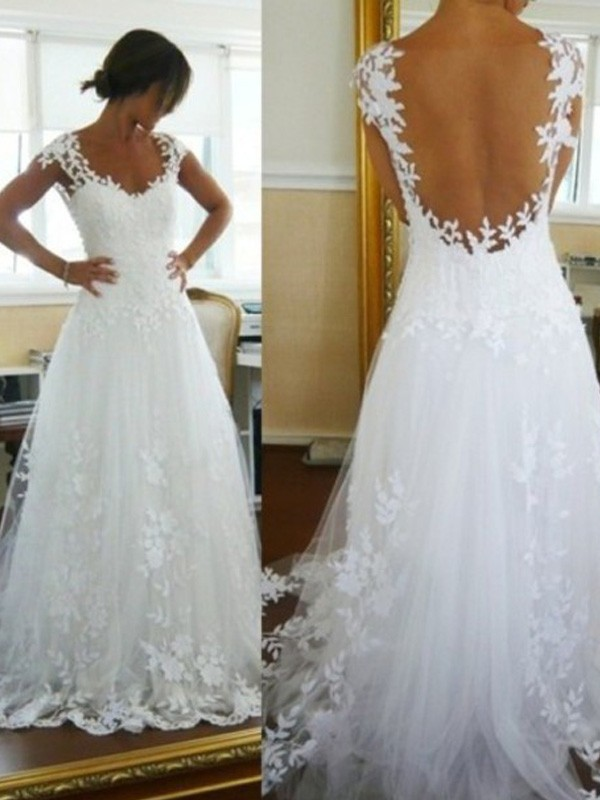 A-Line Princess V-neck Sweep/Brush Train Lace Tulle Wedding Dress