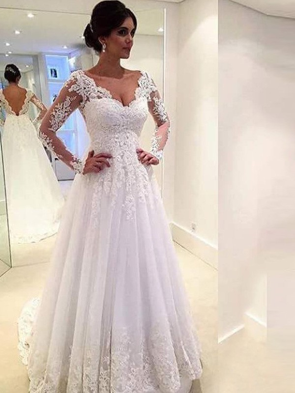 Easily Adored Ball Gown V-neck Lace Sweep/Brush Train Tulle Wedding Dress