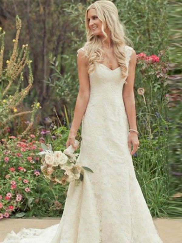 Mermaid Style Sweep/Brush Train V-neck Lace Wedding Dress