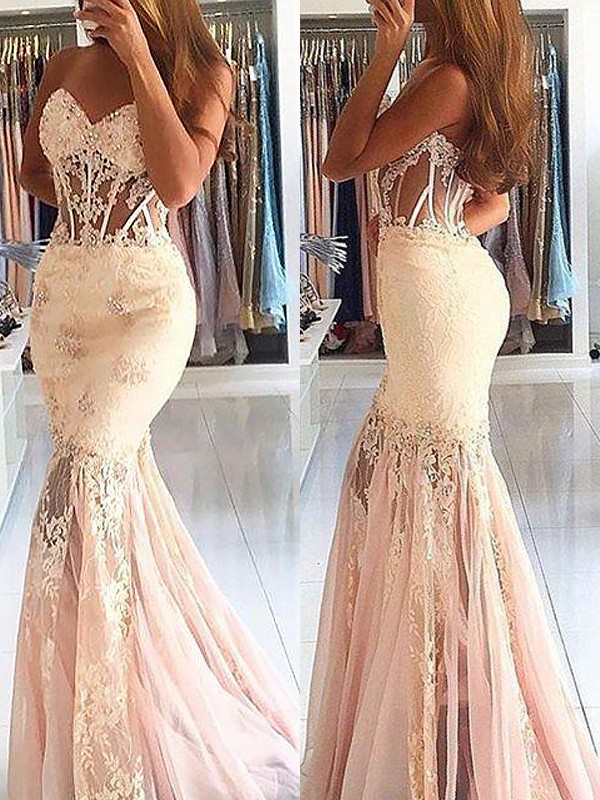 Mermaid Sweetheart Tulle With Lace Sweep/Brush Train Dress