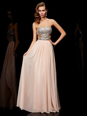 A-line Princess Sweetheart Rhinestone Lovely Long Chiffon Dress