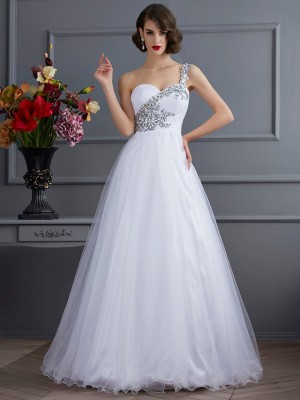 Ball Gown One-Shoulder Beautiful Beading Long Elastic Woven Satin Quinceanera Dress