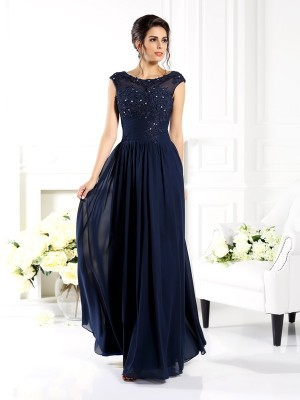 Fashion A-Line Princess Scoop Beading Beautiful Long Chiffon Mother of the Bride Dress