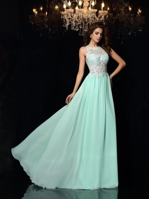 Lovely A-Line Princess High Neck Applique Long Chiffon Dress