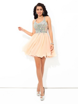 Lovely A-Line Princess Straps Rhinestone Short Chiffon Cocktail Dress
