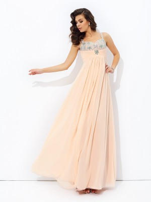Lovely A-Line Princess Spaghetti Straps Beading Long Chiffon Dress