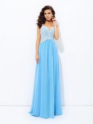Lovely A-Line Princess V-neck Lace Long Chiffon Dress