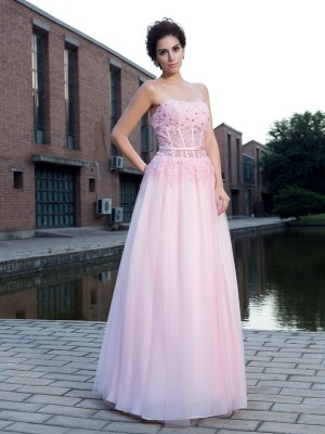 Lovely A-Line Princess Straps Applique Long Net Dress