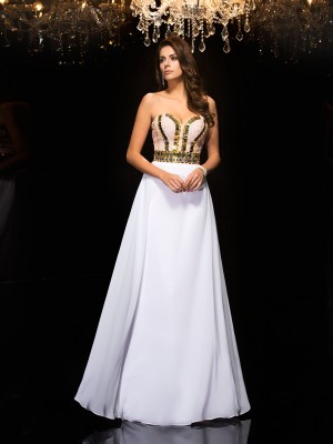 Lovely A-Line Princess Sweetheart Sequin Long Chiffon Dress