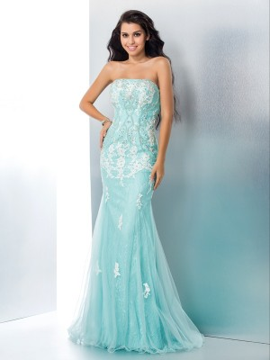 Mermaid Strapless Applique Long Lace Dress