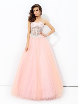 Lovely A-Line Princess Sweetheart Lace Long Net Dress