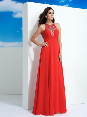 Lovely A-Line Princess Sheer Neck Beading Long Chiffon Dress