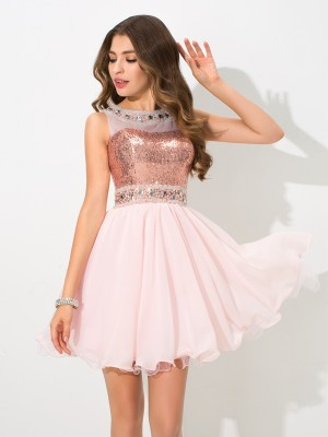 A-Line Princess Sheer Neck Sequin Short Chiffon Cocktail Dress
