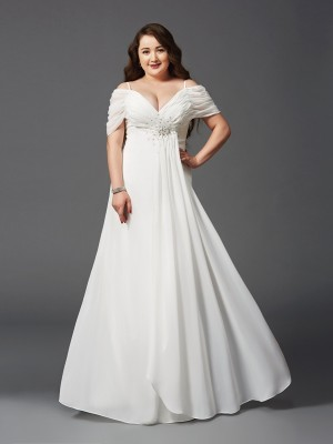 A-Line Princess Off-the-Shoulder Ruched Short Sleeves Long Chiffon Plus Size Dress