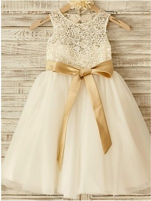 Styled to Smile Princess Style Scoop Bowknot Knee-Length Tulle Flower Girl Dress