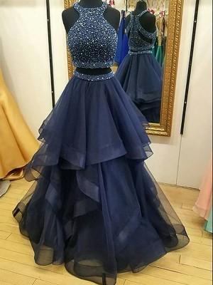 Yours Truly Princess Style Halter Tulle With Beading Floor-Length Two Piece Dress