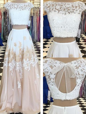 Lovely A-lineBateau Chiffon With Lace Floor-Length Two Piece Dress