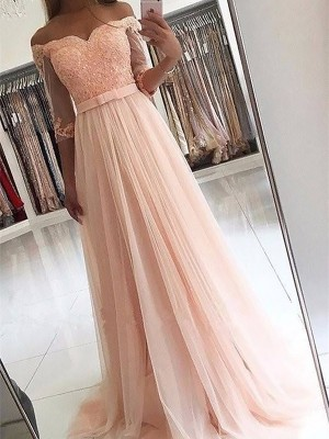 A-Line 3/4 Sleeves Off-the-Shoulder Tulle With Sash/Ribbon/Belt Sweep/Brush Train Dress
