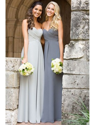 A-Line Princess Sweetheart Floor-Length Ruched Chiffon Bridesmaid Dress