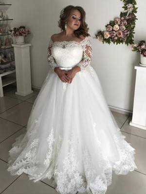 Pretty Looks A-Line Off-the-Shoulder Long Sleeves Sweep/Brush Train Lace Tulle Wedding Dress