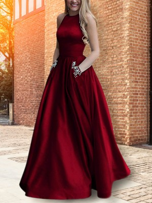 Fit the Occasion A-Line Halter Floor-Length Beading Satin Dress