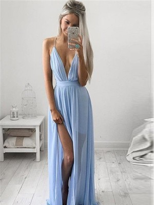 A-Line Princess Spaghetti Straps Chiffon Ruched Floor-Length Dress