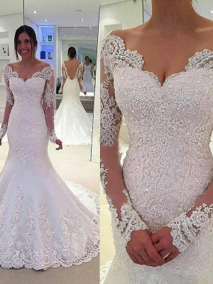 Mermaid Style V-neck Long Sleeves Lace Court Train Tulle Wedding Dress