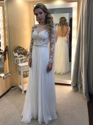 A-Line Princess Bateau Floor-Length Long Sleeves Lace Chiffon Wedding Dress