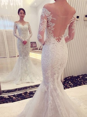 Mermaid Style Off-the-Shoulder Long Sleeves Lace Sweep/Brush Train Wedding Dress