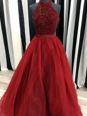 Ball Gown High Neck Floor-Length Beading Organza Dress