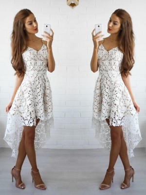 A-Line Princess Spaghetti Straps Lace Short/Mini Dress