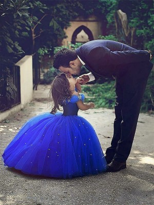 Ball Gown Off-the-Shoulder Crystal Floor-Length Tulle Flower Girl Dress