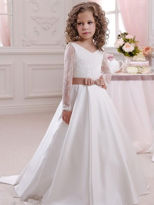 Ball Gown V-neck Long Sleeves Lace Floor-Length Satin Flower Girl Dress