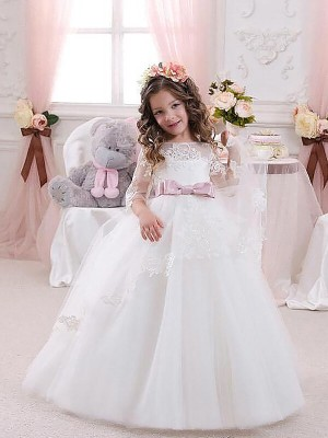 Ball Gown Jewel 1/2 Sleeves Lace Floor-Length Tulle Flower Girl Dress