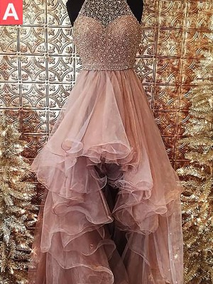 Ball Gown Halter With Beading Asymmetrical Tulle Dress
