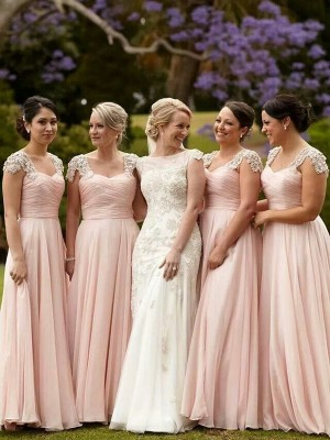 A-Line Princess Short Sleeves Square Beading Chiffon Floor-Length Bridesmaid Dress