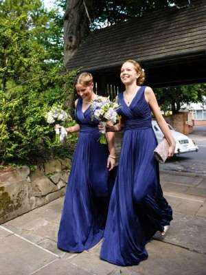 A-Line Princess V-neck Pleats Chiffon Floor-Length Bridesmaid Dress